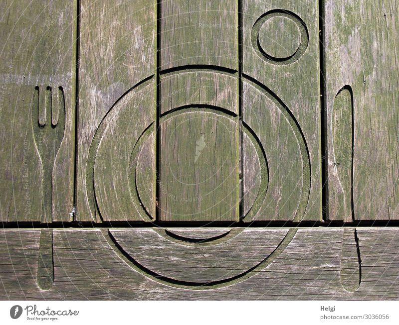 Holztisch mit ausgefrästem Teller und Besteck auf einem Picknickplatz Ernährung Diät Fasten Messer Gabel Tisch Zeichen Linie außergewöhnlich braun grau grün