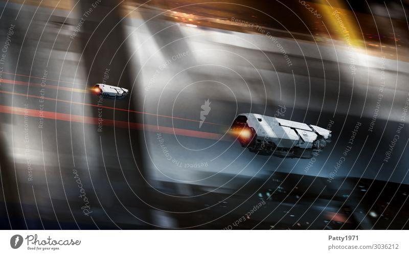 Space Race Technik & Technologie Fortschritt Zukunft High-Tech Raumfahrt Weltraumstation Fassade Raumfahrzeuge fliegen dunkel Geschwindigkeit braun grau schwarz