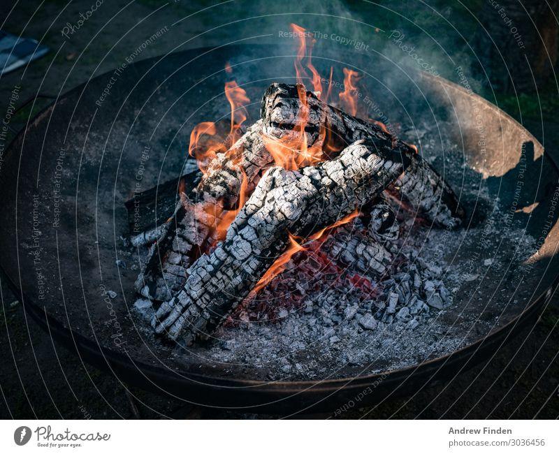 Lagerfeuer am Morgen Erholung Camping Feuer Herd & Backofen Grill Holz hängen Ferien & Urlaub & Reisen ruhig Feuerstelle Gedeckte Farben Außenaufnahme