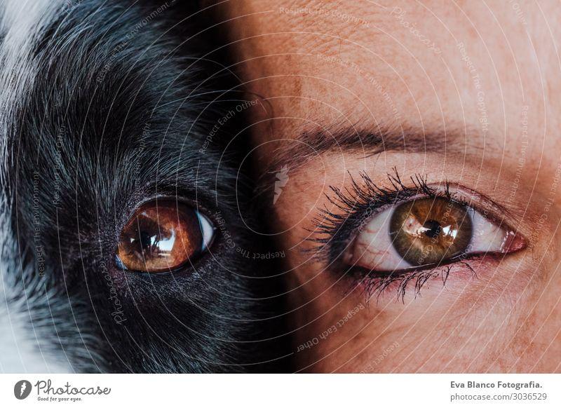 Nahaufnahme Frau und Hundeaugen zusammen. Liebe zu Tieren. Lifestyle Freude Glück schön Erholung Freizeit & Hobby Spielen Ferien & Urlaub & Reisen Sommer