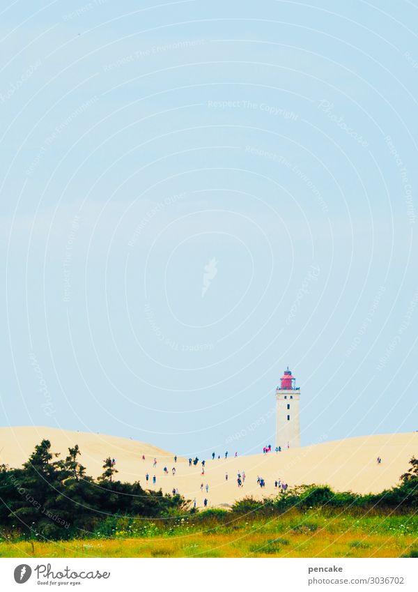 ameisenlaufen Natur Landschaft Urelemente Sand Himmel Horizont Sommer Schönes Wetter Wärme Dürre Küste Riff Nordsee Leuchtturm Tourismus Rubjerg Düne groß
