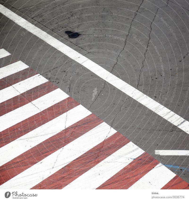 rotes Zebra mit weißen Streifen | on the road again Straße Wege & Pfade grau Design Linie Verkehr Kommunizieren Ordnung Schilder & Markierungen kaputt