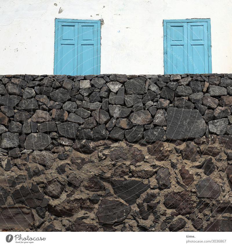 Tellerrand Stadt Haus Fenster Wand lustig Gebäude Mauer außergewöhnlich Design Angst Kreativität Perspektive Neugier planen Schutz Sicherheit