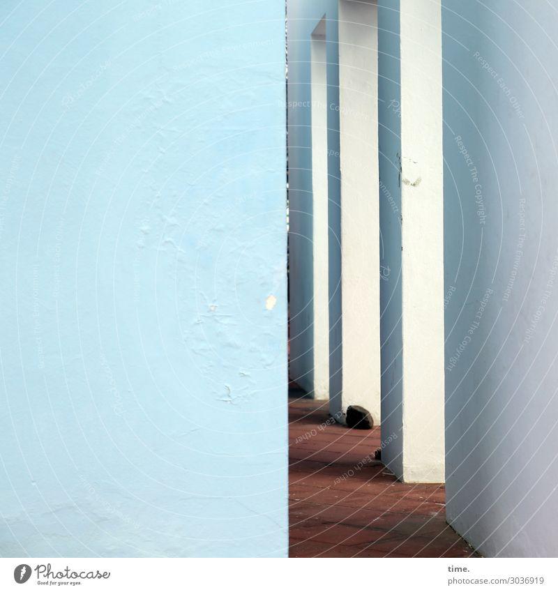 Arkaden blau Stadt Wand Wege & Pfade Zeit Mauer Stein braun Fassade Stimmung Kommunizieren ästhetisch Kreativität Perspektive einfach entdecken