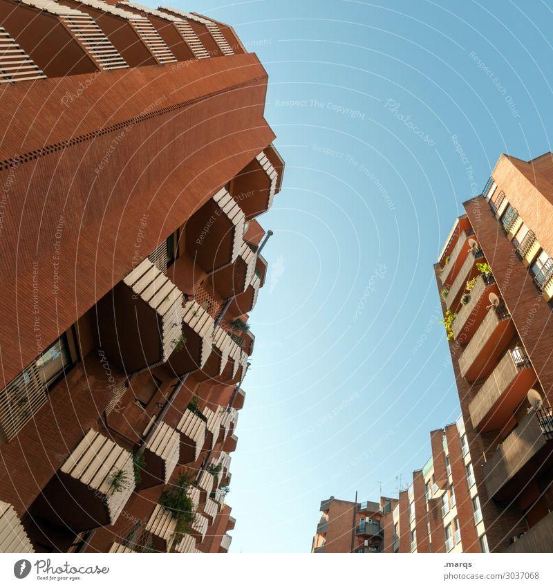 4 Blocks Häusliches Leben Wolkenloser Himmel Schönes Wetter Rom Haus Hochhaus Gebäude Architektur hoch Stadt viele Perspektive Immobilienmarkt Farbfoto