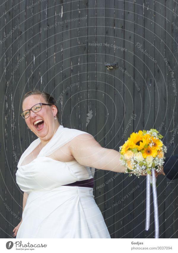 Eine Braut hat Spaß Mensch Jugendliche Junge Frau Sommer Pflanze schön weiß Freude 18-30 Jahre Lifestyle Erwachsene Leben gelb lustig feminin lachen