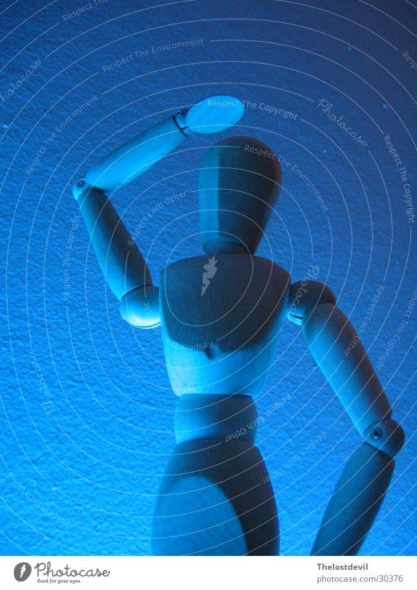 Gliederpuppe blau Stil Holz Körperhaltung Handwerk Puppe Holzpuppe