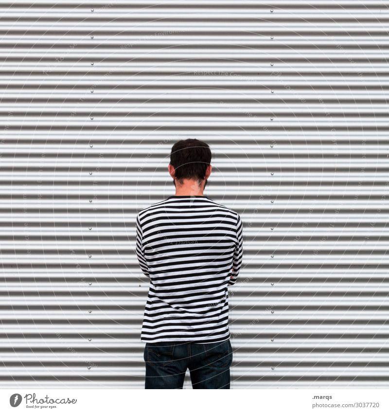 Beleidigt maskulin Mann Erwachsene 1 Mensch Mauer Wand Linie Gefühle Traurigkeit Sorge Trauer Liebeskummer Enttäuschung Einsamkeit schuldig Scham Reue Hemmung