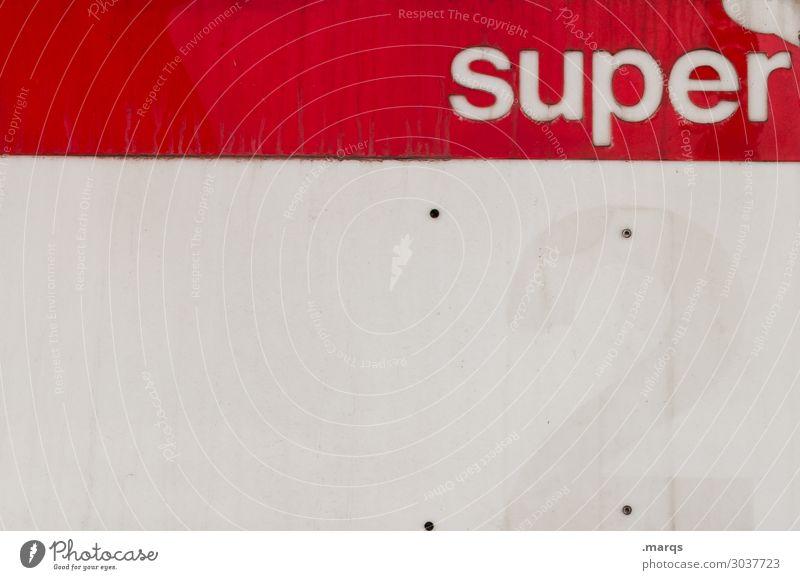 super Industrie Tankstelle Benzin Rohstoffe & Kraftstoffe Kunststoff Schriftzeichen Hinweisschild Warnschild kaputt rot weiß tanken Zapfsäule Farbfoto