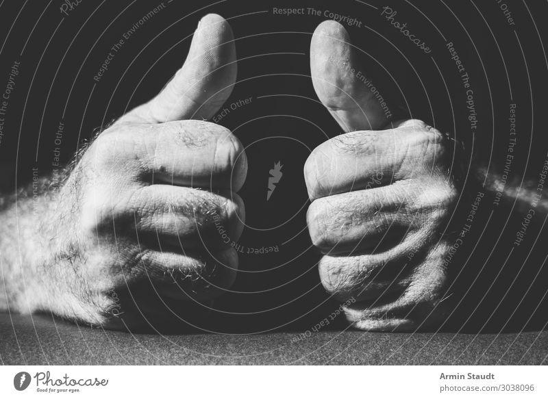 super Lifestyle Stil Design Leben Zufriedenheit Mensch maskulin Vater Erwachsene Hand Finger Faust Daumen 1 Gefühle Begeisterung selbstbewußt anstrengen Erfolg