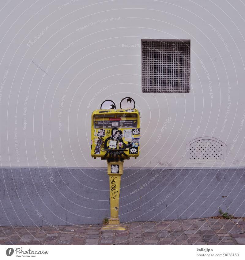 kawaii Lifestyle Mensch Auge 1 Blick Comic Comicfigur Briefkasten lustig schön kindlich vermenschlichen Schielen Augenheilkunde gelb Telekommunikation