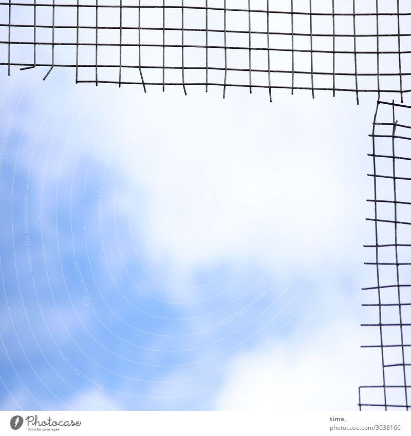 luftig | Himmel im Q Kunst Skulptur Luft Wolken Schönes Wetter Kassel Sehenswürdigkeit Gitter Gitternetz Metall Linie Netzwerk außergewöhnlich hell hoch kaputt