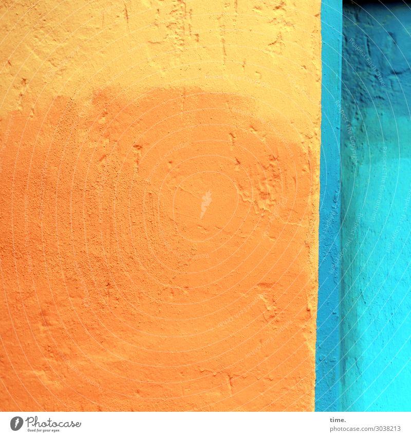 orangegelb|blautürkis Mauer Wand Putz Farbe Stein Beton Freundlichkeit Fröhlichkeit Wachsamkeit Leben Design Entschlossenheit erleben gleich Inspiration