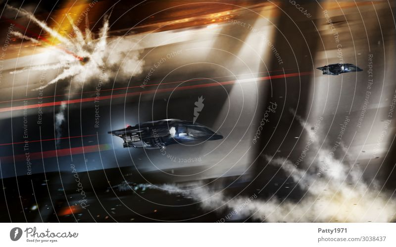 Attack ships on fire... Technik & Technologie Fortschritt Zukunft High-Tech Raumfahrt UFO Weltraumstation Fassade Raumfahrzeuge fliegen Aggression bedrohlich