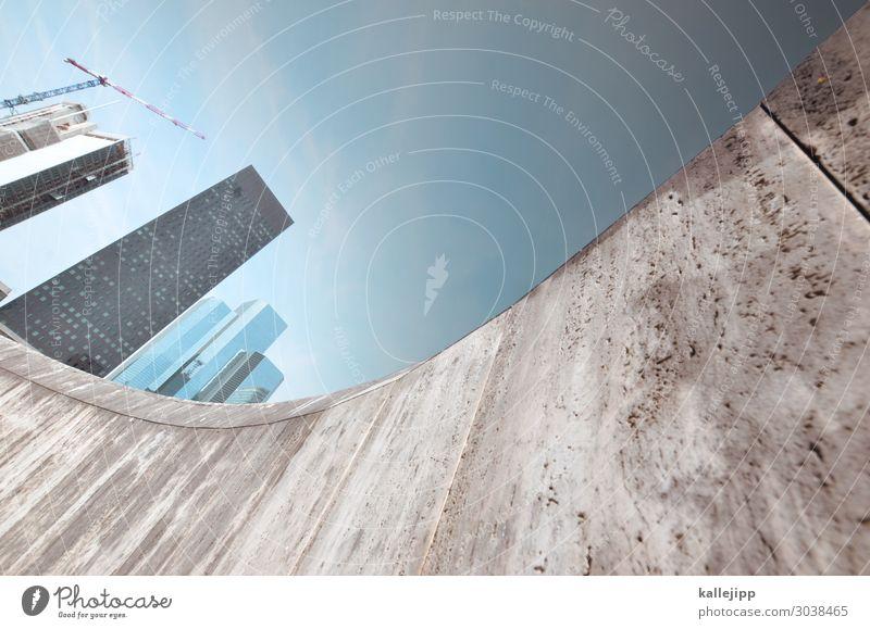 / blau Stadt Architektur Wand Business Gebäude Mauer Fassade grau modern Hochhaus Erfolg Zukunft Beton Turm Baustelle