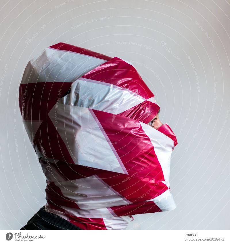 Profilbild maskulin Mann Erwachsene Kopf 1 Mensch Barriere außergewöhnlich verrückt rot weiß Identität Schutz seriös skurril Soziale medien Social media Avatar