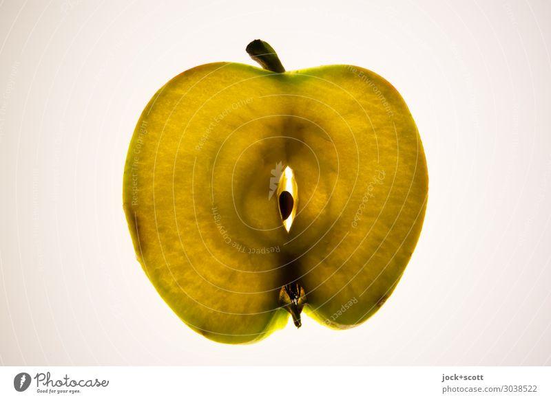 Apfelscheibe (mit Schale) Kerngehäuse Oval Scheibe leuchten dünn lecker natürlich süß Design Inspiration Symmetrie Querschnitt durchleuchtet geschnitten