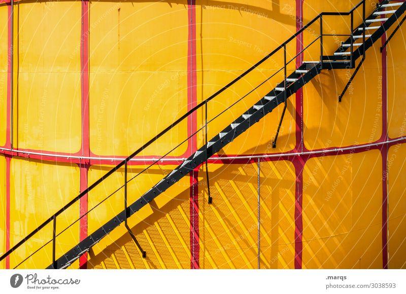 1. OG Industrie Mauer Wand Treppe gelb rot schwarz Farbe oben Farbfoto Außenaufnahme Menschenleer Textfreiraum links Textfreiraum rechts Textfreiraum oben