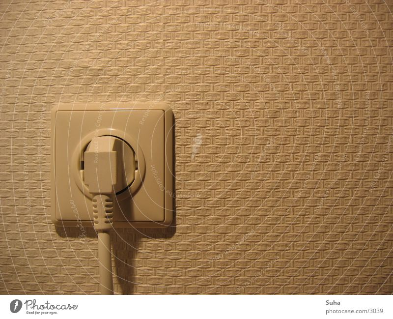 Connected Elektrizität Stecker Steckdose Wand Tapete Muster Elektrisches Gerät Technik & Technologie blasen Verbindung Netzstecker