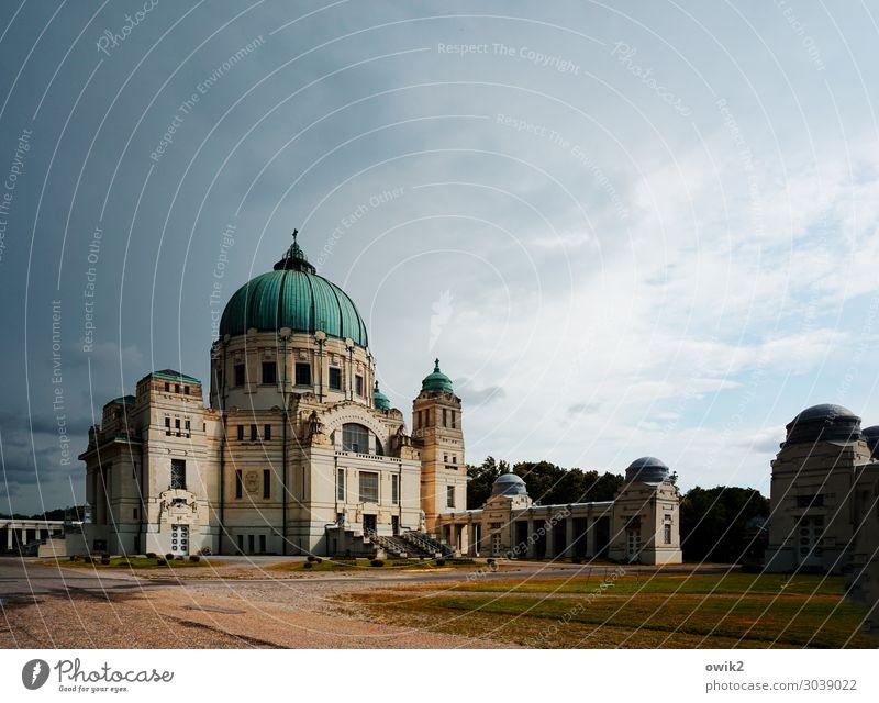 Wien, Zentralfriedhof Himmel Wolken Hauptstadt Stadtrand Kirche Bauwerk Sehenswürdigkeit Wahrzeichen alt Bekanntheit groß historisch trösten demütig Hoffnung