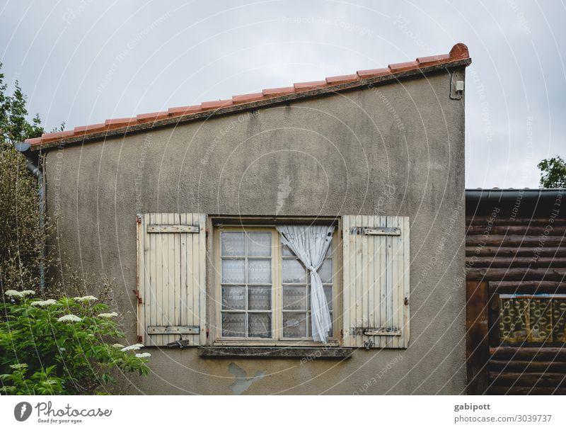 Nachbarschaft II Menschenleer Haus Mauer Wand Fenster alt trashig trist blau braun Senior Armut Perspektive Stimmung Umzug (Wohnungswechsel) Verfall