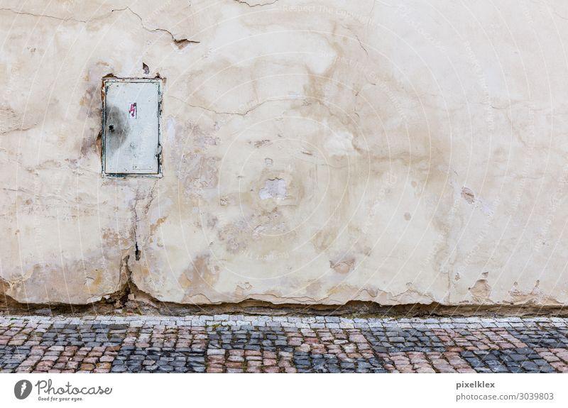 Stromkasten 2 alt Stadt Haus Straße Wand Wege & Pfade Gebäude Mauer Stein braun grau retro dreckig Energiewirtschaft trist Armut