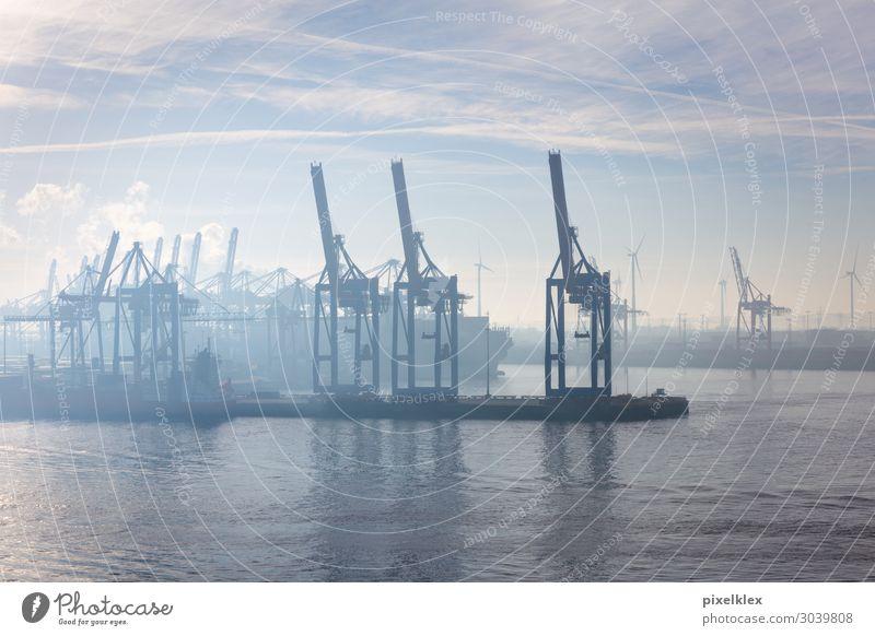Hamburger Hafen im Nebel Ferien & Urlaub & Reisen Ferne Städtereise Kreuzfahrt Meer Industrie Güterverkehr & Logistik Wasser Himmel Wolken Küste Flussufer Bucht
