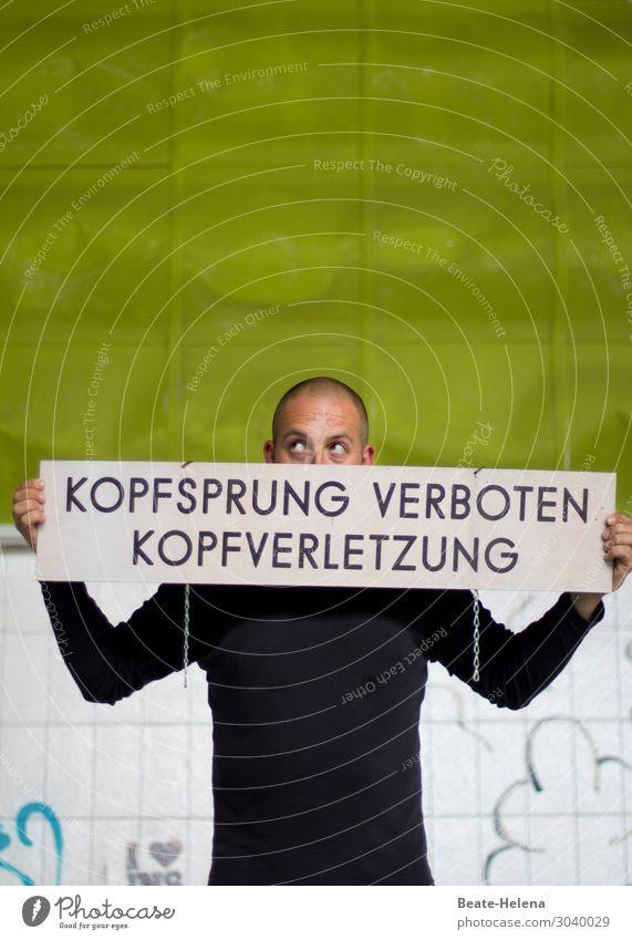 Kopfsprung birgt Gefahr Gesundheit Schwimmen & Baden Ferien & Urlaub & Reisen Sport Schwimmhalle Schwimmbad Mann Erwachsene Schilder & Markierungen springen