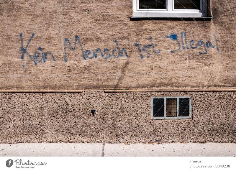 keiner Stil Mauer Wand Fassade Schriftzeichen Schilder & Markierungen braun Aggression dreckig rebellisch Stadt ungesetzlich Mensch Anarchie Migration Ausländer