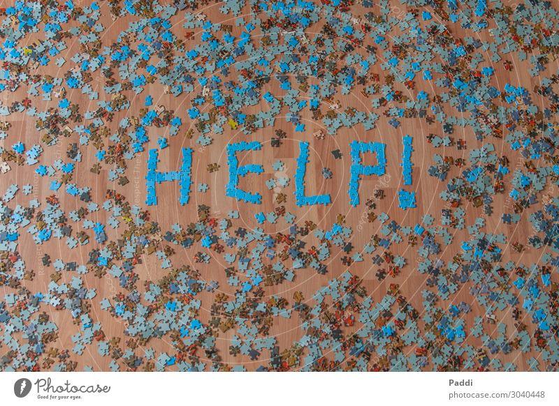 Puzzlechaos Zeichen Schriftzeichen Ziffern & Zahlen Hinweisschild Warnschild chaotisch Scham Konflikt & Streit Stress Irritation Verzweiflung Help
