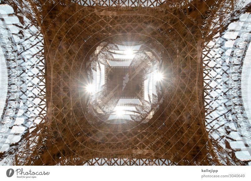 4 x eifelturm Tourismus Ausflug Städtereise Stadt Hauptstadt Tour d'Eiffel Spitze Paris Doppelbelichtung Eisen Architektur Sightseeing Sehenswürdigkeit