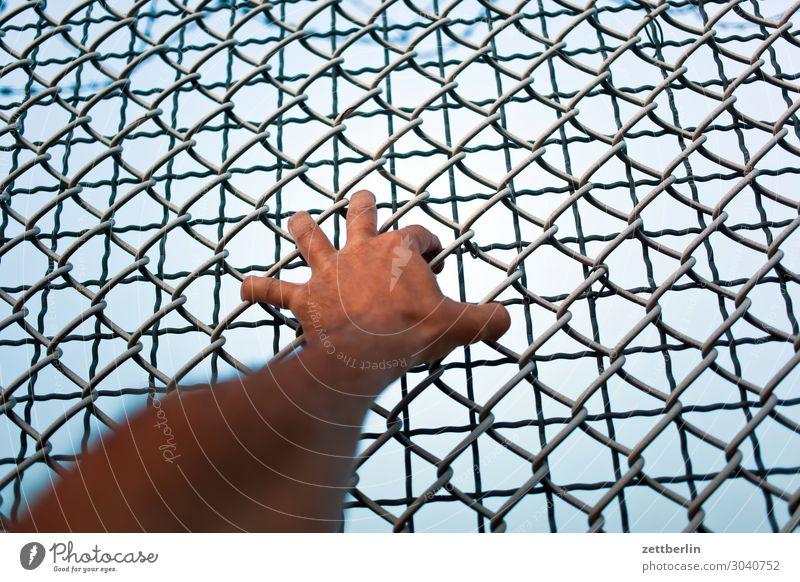 Hand im Maschendrahtzaun greifen Griff festhalten Zaun Grenze geschlossen aussperren ausstoßen ausgeschlossen Barriere Freiheit befreien Befreiung gefangen