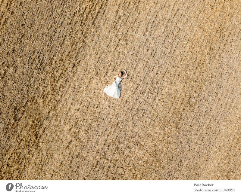 #AS# Hochzeitsfeld II Kunst ästhetisch Landschaft verloren Braut Brautkleid Brautschleier Kleid Zeremonie überwältigt vergessen trist leer Hochzeitszeremonie