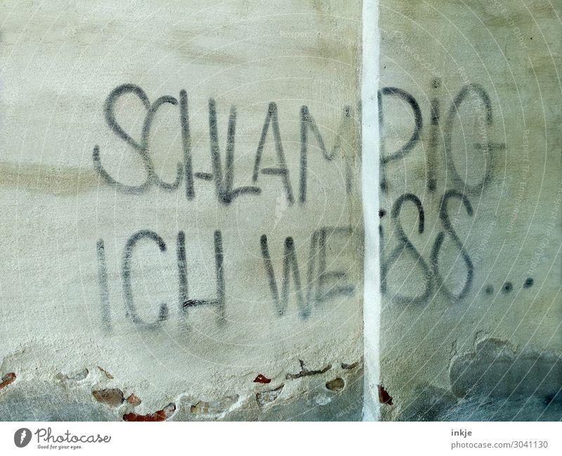 erkenne Deine Schwächen Lifestyle Menschenleer Mauer Wand Fassade Zeichen Schriftzeichen Graffiti Erkenntnis Großbuchstabe Deutsch unordentlich Wissen Betonwand