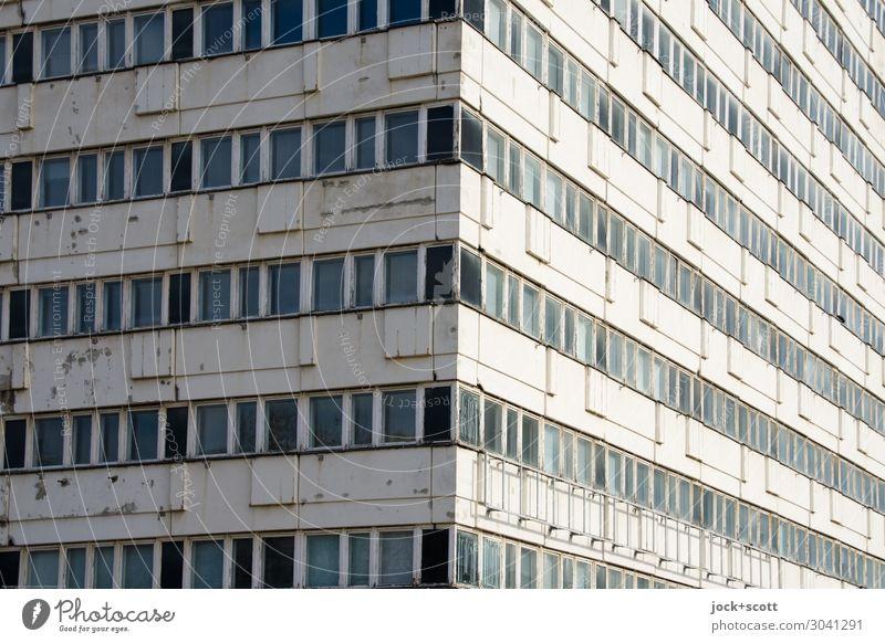 Haus der Statistik DDR Alexanderplatz Berlin-Mitte Stadtzentrum Bürogebäude Gebäudekomplex Plattenbau Fassade Ecke eckig lang retro grau Schutz Ordnung