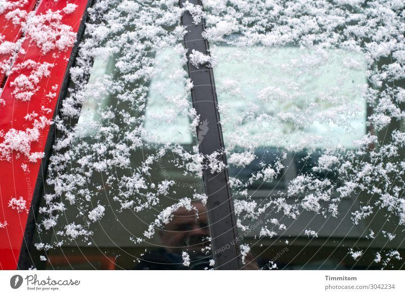 Undercover im Winter Mensch 1 60 und älter Senior Eis Frost Schnee Parkplatz PKW Glas Metall beobachten Blick einfach rot schwarz weiß Gefühle Autofenster