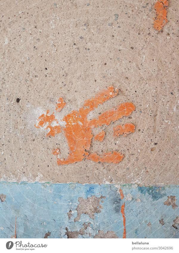 Spurensicherung Hand Menschenleer Ruine Bauwerk Gebäude Architektur Mauer Wand blau braun orange Handabdruck Abdruck Finger Verfall Farbfoto Gedeckte Farben