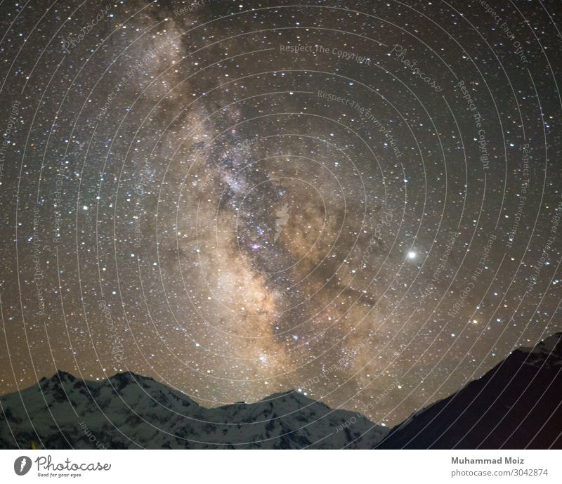 Milchstraße über Nanga Parbat Umwelt Natur Landschaft Pflanze Luft Erde Wolken Nachthimmel Stern Mond Vollmond Klima Denken sprechen Milchstrasse nanga parbat