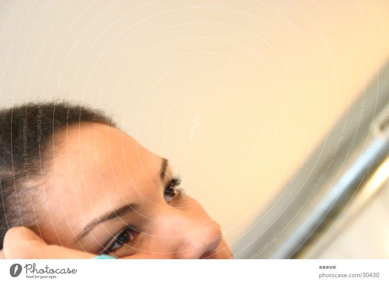 nachdenken Frau Gesicht Auge Denken Langeweile Sorge
