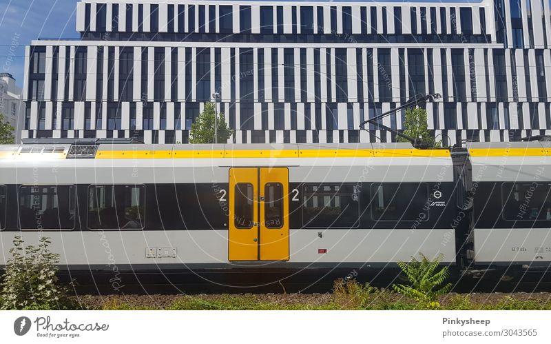 Train Bauwerk Gebäude Architektur Verkehr Schienenverkehr Bahnfahren Eisenbahn Personenzug S-Bahn Ferien & Urlaub & Reisen gelb Linie Tür Düsseldorf Deutschland