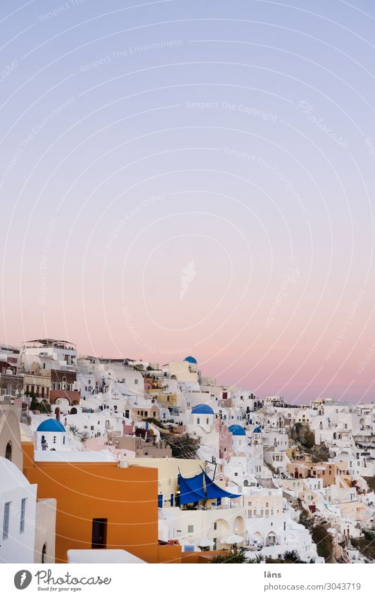 Santorin Ferien & Urlaub & Reisen Tourismus Ausflug Städtereise Häusliches Leben Haus Traumhaus Himmel Wolkenloser Himmel Schönes Wetter Insel Oia Griechenland