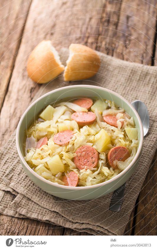 Kraut, Kartoffel und Wurst Eintopf Fleisch Wurstwaren Gemüse Suppe frisch Lebensmittel schmoren Kohlgewächse kreuzbefleckt Bratwurst Chorizo longaniza Scheibe