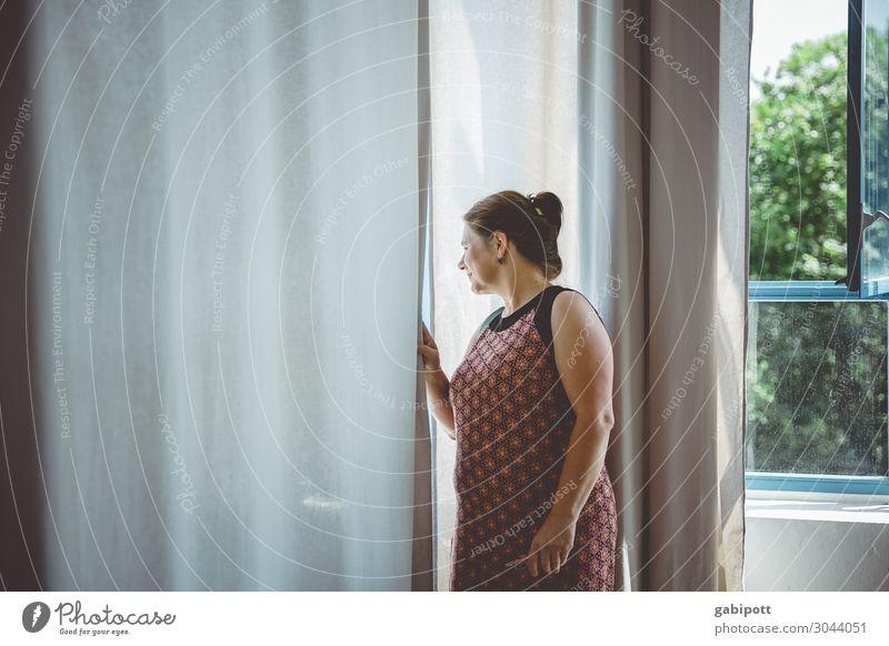 Nachbarschaft I Mensch feminin Frau Erwachsene Fenster Blick Neugier Wissen Häusliches Leben Gardine Misstrauen Textfreiraum links Farbfoto Gedeckte Farben