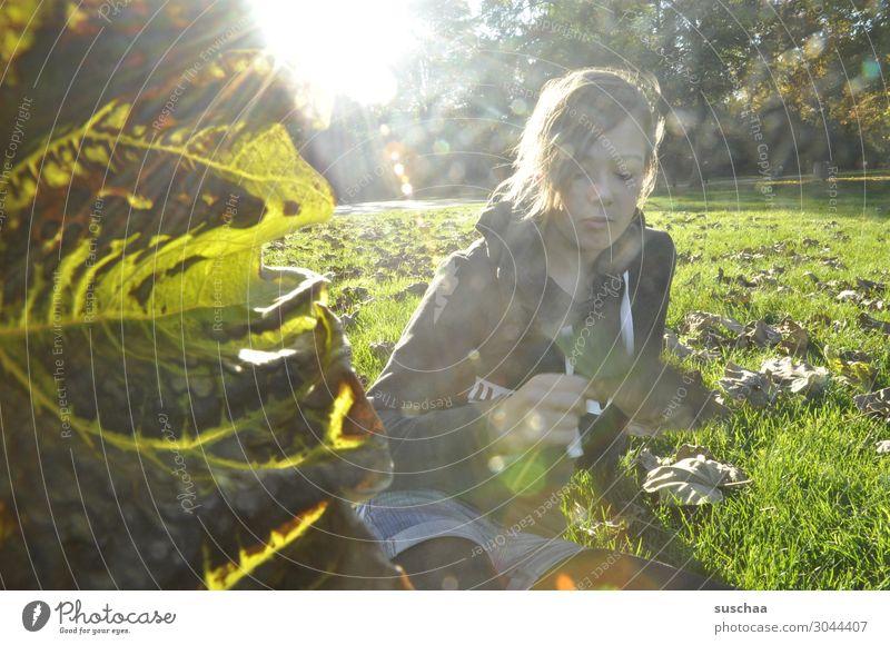 mädchen auf einer herbstlichen wiese mit blatt links Mädchen Kind Jugendliche Teenager Wiese Sonne Sonnenlicht Sonnenstrahlen Herbst Laub Herbstwiese Natur