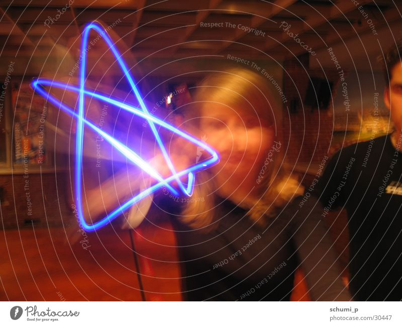 Blue Light Star Langzeitbelichtung Stil Starruhm Stern (Symbol) blau Lampe