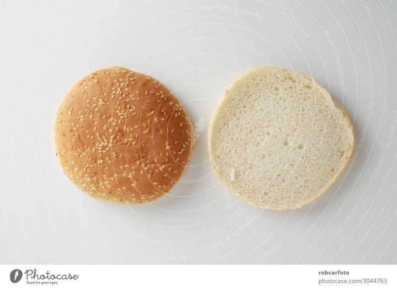 Hamburgerbrötchen mit Sesamsamen Brot Brötchen Ernährung Essen Mittagessen Abendessen Diät Fastfood frisch lecker gelb weiß Farbe Burger Hintergrund Top