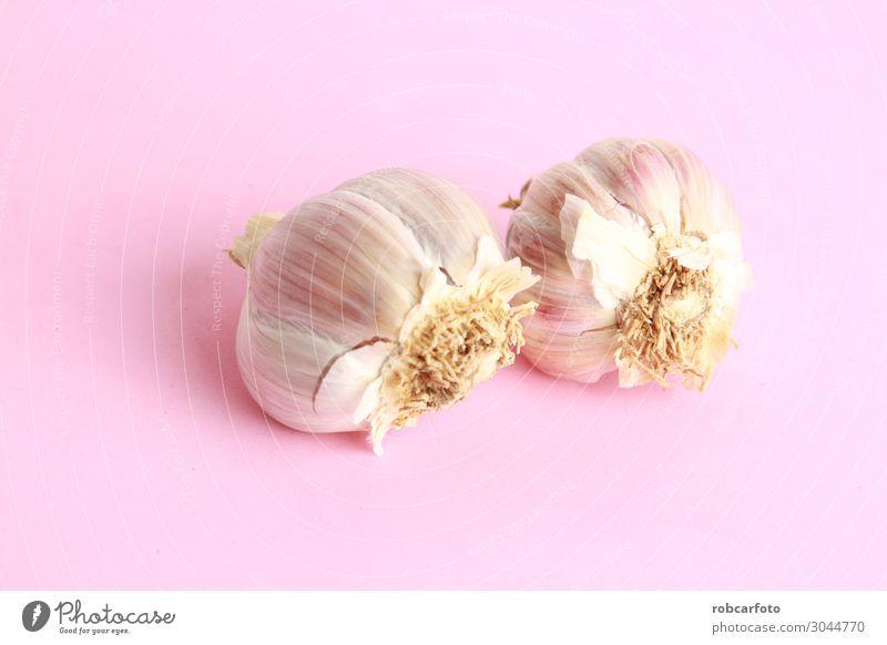 Knoblauchkopf in farbigem Hintergrund Gemüse Kräuter & Gewürze Ernährung Vegetarische Ernährung Natur Pflanze frisch natürlich rot weiß Kopf Knolle vereinzelt