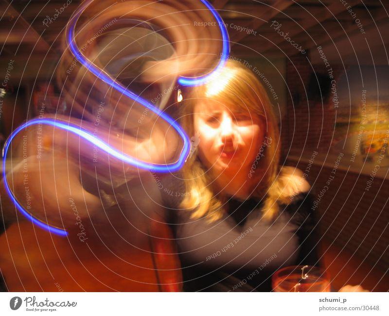 Blue Light Snake Langzeitbelichtung s Schnur Nähgarn