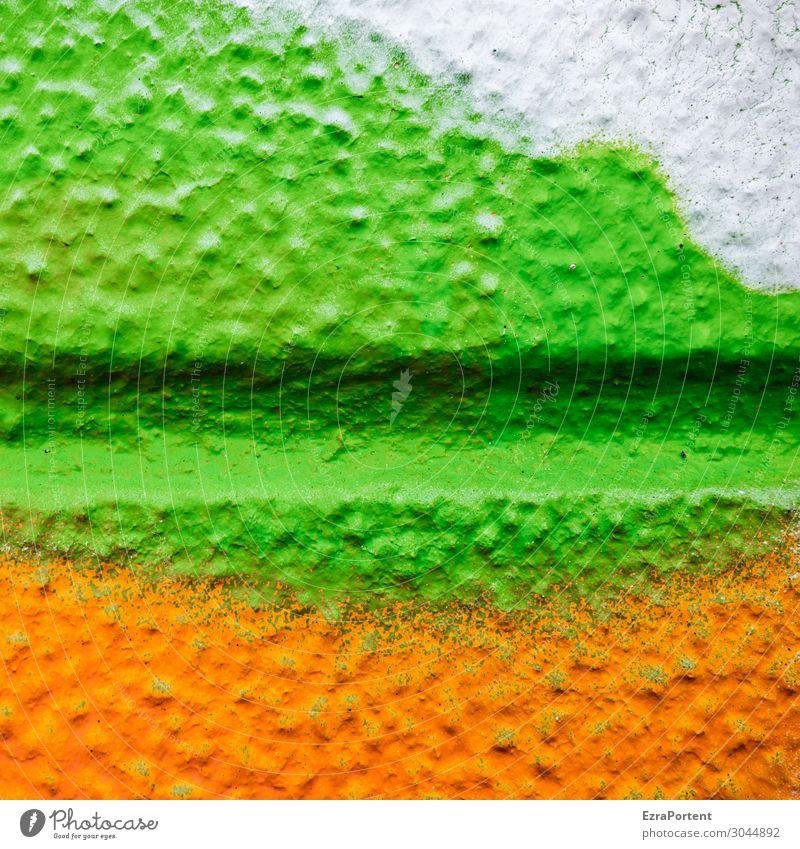 - Mauer Wand Fassade Linie Streifen grün orange weiß Design Farbe mehrfarbig Fuge Strukturen & Formen Graffiti Grafische Darstellung Grafik u. Illustration