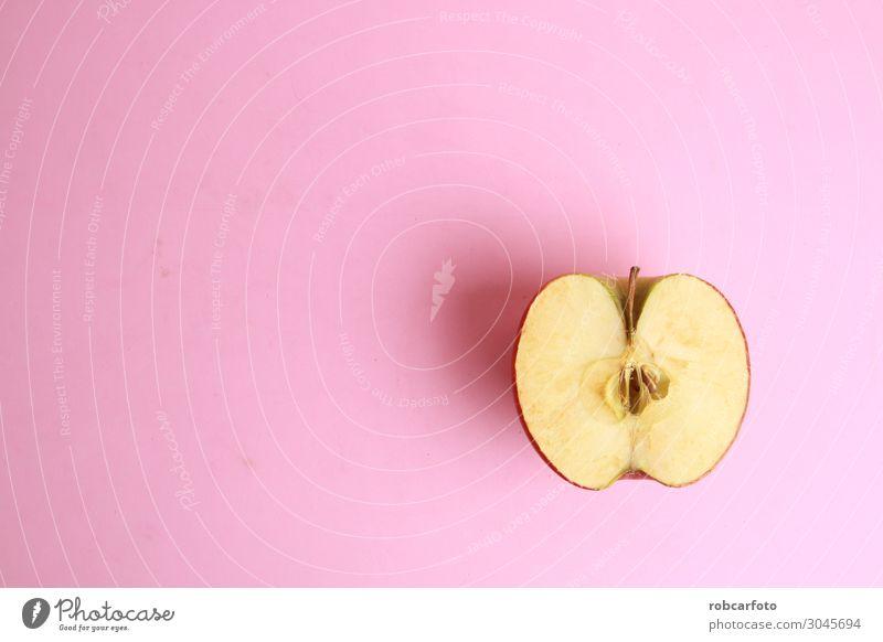 roter Apfel in zwei Hälften geschnitten Frucht Vegetarische Ernährung Diät Design Sommer Natur Pflanze frisch hell lecker natürlich saftig grün weiß Hintergrund